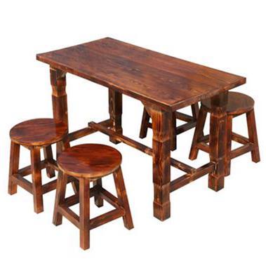 新款碳化防腐实木 食堂餐桌餐椅