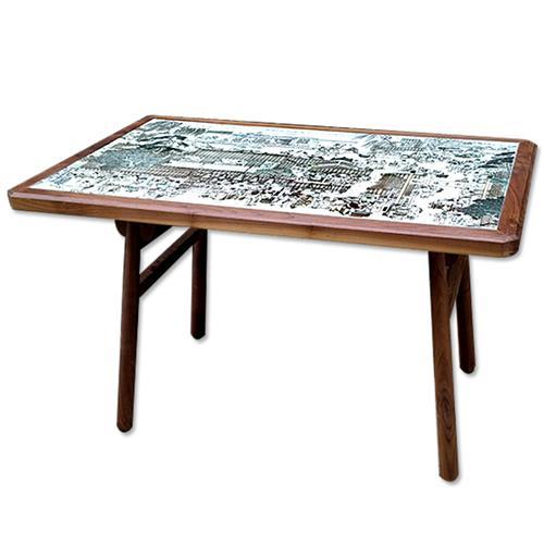 简约实木边框相框大理石企业职工食堂桌椅
