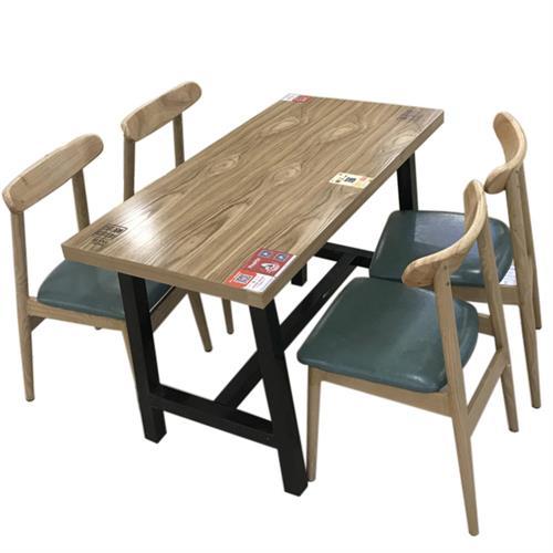4人位餐厅食堂桌椅_工厂实木食堂桌椅_现代简约快餐店桌椅