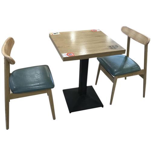 2人位餐厅食堂桌椅_实木快餐店食堂桌椅