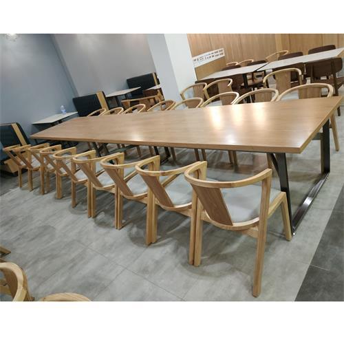 公司餐厅食堂实木桌椅_职工食堂桌椅