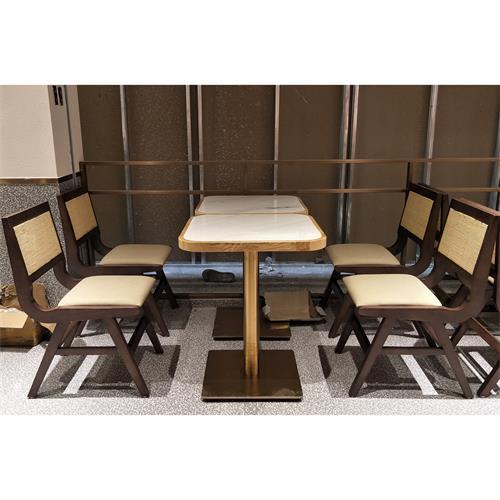 不锈钢大理石台面职工食堂餐桌椅