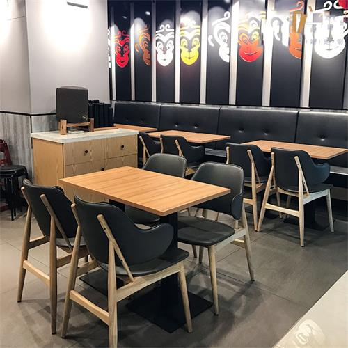快餐厅快餐店食堂员工餐厅实木桌椅