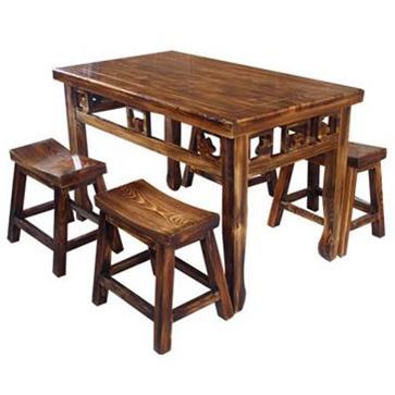炭化防腐实木食堂餐厅外雕花仿古餐桌椅