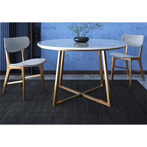 公司食堂大理石不锈钢餐桌椅组合