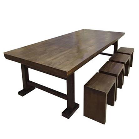 实木餐桌椅组合6-10人长方形食堂饭桌