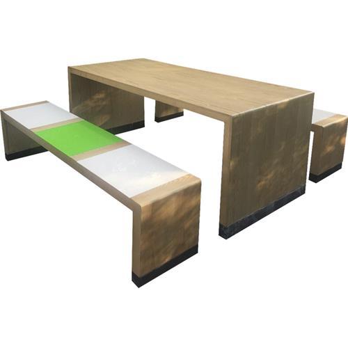 学校餐厅食堂长条实木桌椅板凳家具