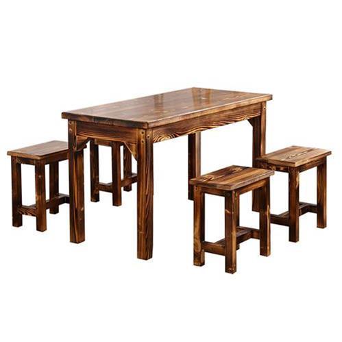 仿古碳化实木食堂餐桌椅组合