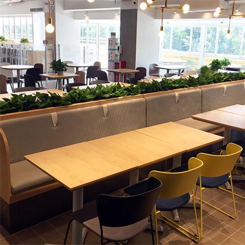 机关单位食堂用餐桌椅_食堂分体实木餐桌椅