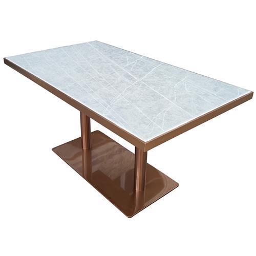 企业食堂钛金不锈钢轻奢餐桌