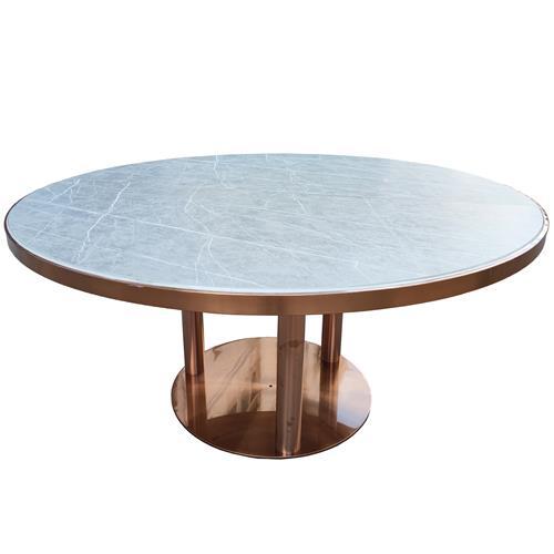 现代风不锈钢脚食堂圆餐桌