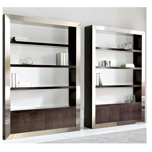 后现代简约创意不锈钢书柜多层_不锈钢书柜工厂生产