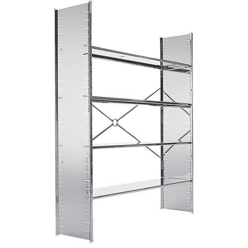 现代简约铂金钢板不锈钢书架_高端不锈钢书架定制