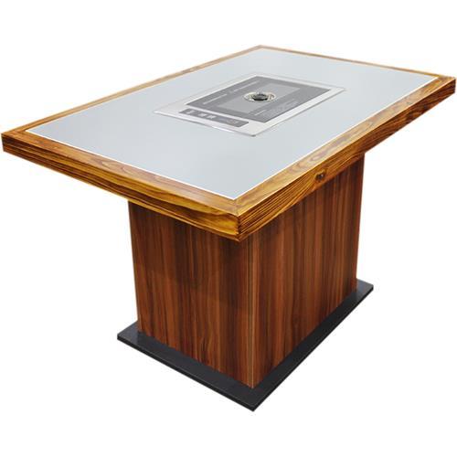 实木边框镶嵌大理石台面韩式烧烤桌_自助无烟烤肉桌