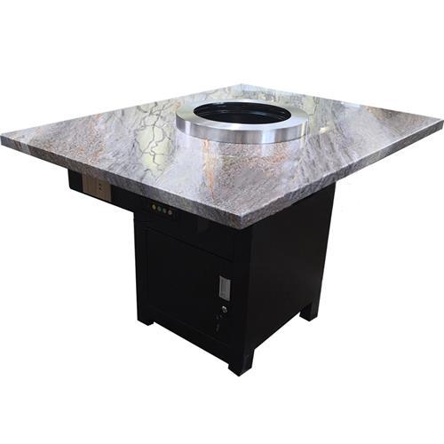 上排下吸无烟韩式烧烤桌_大理石纸上烤肉桌