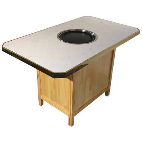 韩式烤肉店不锈钢大理石台面自助烧烤桌椅批发