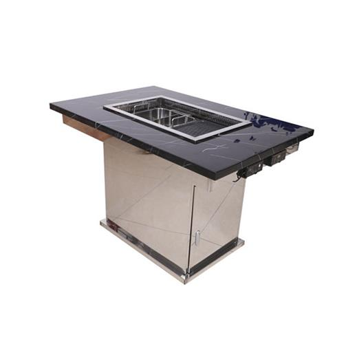 商用无烟烤涮一体桌子_不锈钢火锅涮烤一体桌