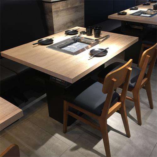 日式烧烤店自带排烟净化实木烤肉桌