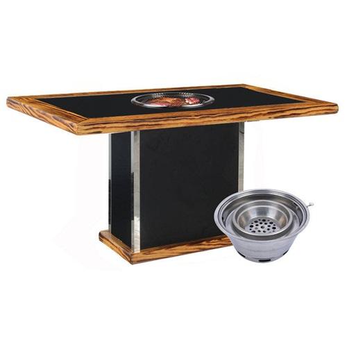日式烤肉店火烧石台面下排烟炭火烧烤桌子