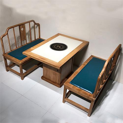 实木边框镶嵌大理石电磁炉火锅桌_实木柜式中式火锅桌椅