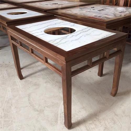 仿古中式实木边框镶嵌大理石台面电磁炉火锅桌