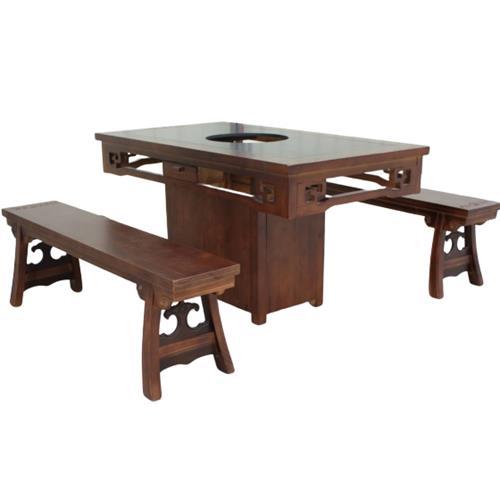 中式仿古老火锅木质火锅桌