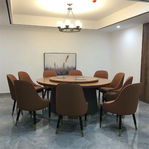 新中式轻奢电动实木火锅桌-12人的新式火锅大圆桌