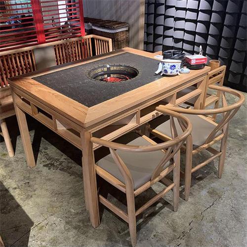 中式仿古火烧石台面实木火锅餐桌
