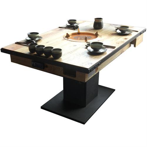 凑凑火锅店中式风格实木火锅桌子