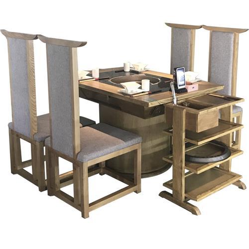 火锅店新中式电磁炉实木商用火锅桌子