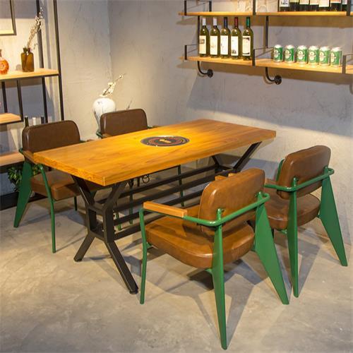 实木电磁炉火锅桌椅美式复古串串香烤肉店桌子铁艺火锅yabo娱乐 椅
