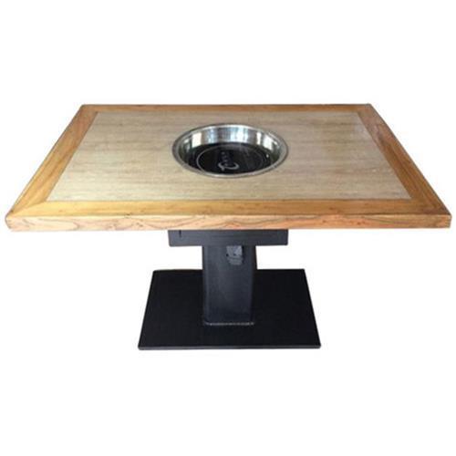 中式简约实木下沉式电磁炉一体火锅桌