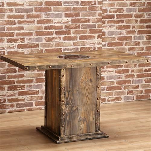 复古工业风碳化实木火锅桌子 电磁炉烤涮桌子