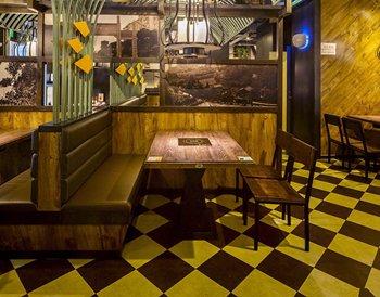 美式复古实木火锅桌椅组合创意餐厅-火锅桌厂家定制
