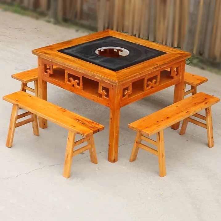 实木大理石火锅桌 电磁炉燃气灶火锅店八仙桌