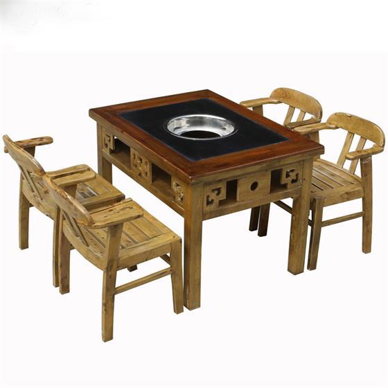 仿古做旧实木火锅桌燃气大理石电磁炉实木火锅桌椅组合