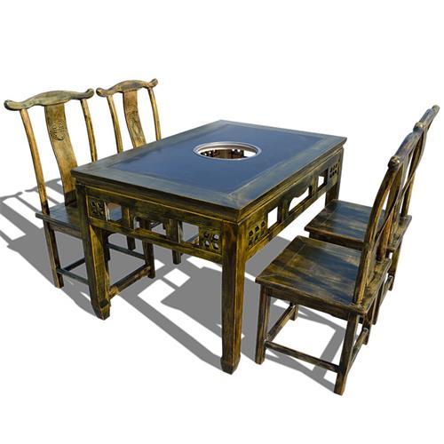 仿古雕花松木火锅桌 煤气灶电磁炉实木火锅桌椅 农家火锅店餐