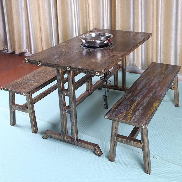 仿古做旧铁艺主题餐厅火锅桌 拼色混搭火锅店实木餐桌椅