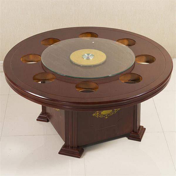 火锅店橡木火锅桌 电磁炉实木火锅桌椅