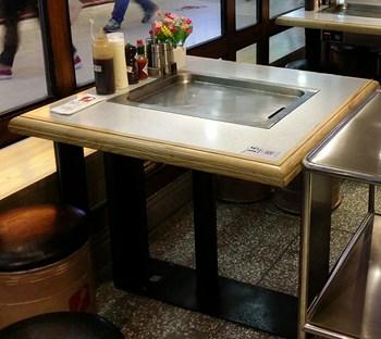 实木包边铝合金桌面四人位火锅桌-厂家定制