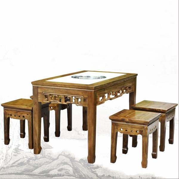 古典中式实木火锅桌椅组合