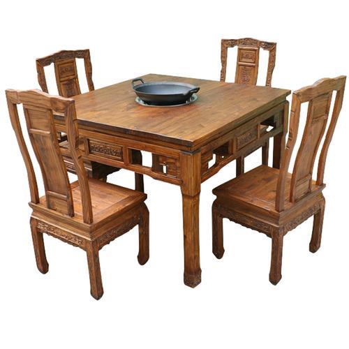 中式明清古典老榆木火锅桌椅