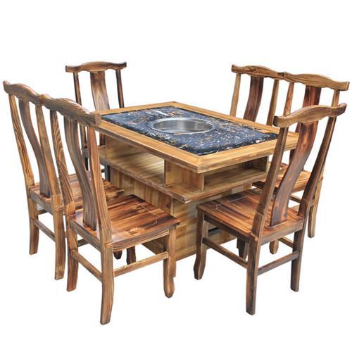 大理石实木柜式仿古碳化火锅桌椅