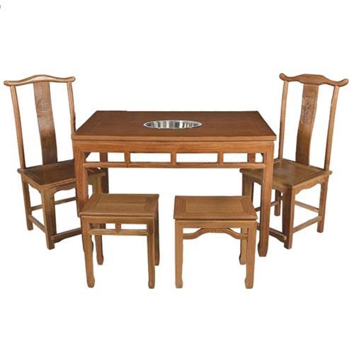 明清仿古老榆木八仙火锅桌椅