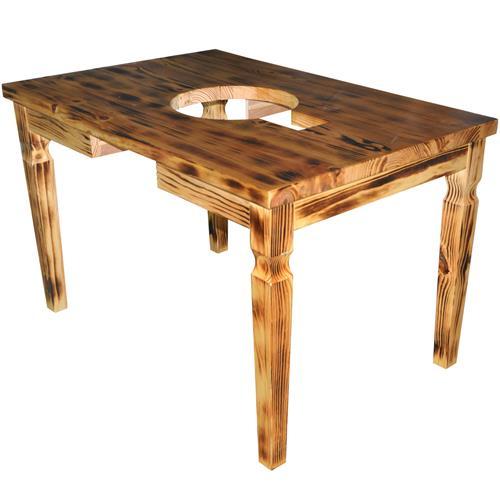 火烧碳化仿古实木火锅桌