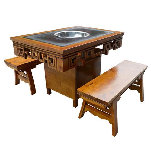 新款小郡肝串串香实木火锅桌 大理石仿古雕花火锅桌椅