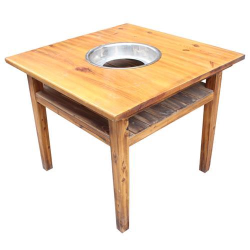 串串火锅桌 多层隔式燃气煤气灶通用实木火锅桌