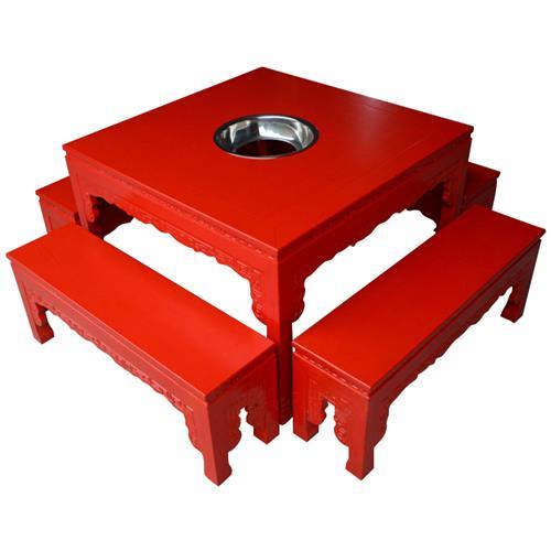 小龙坎大龙焱重庆老火桌 中式仿古雕花实木火锅桌