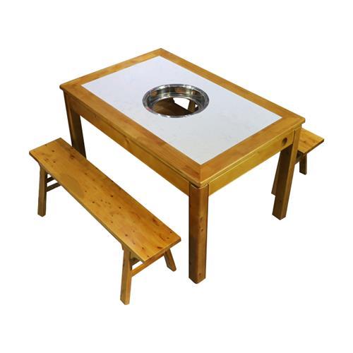 复古实木火锅桌仿古大理石台面燃气灶电磁炉火锅桌