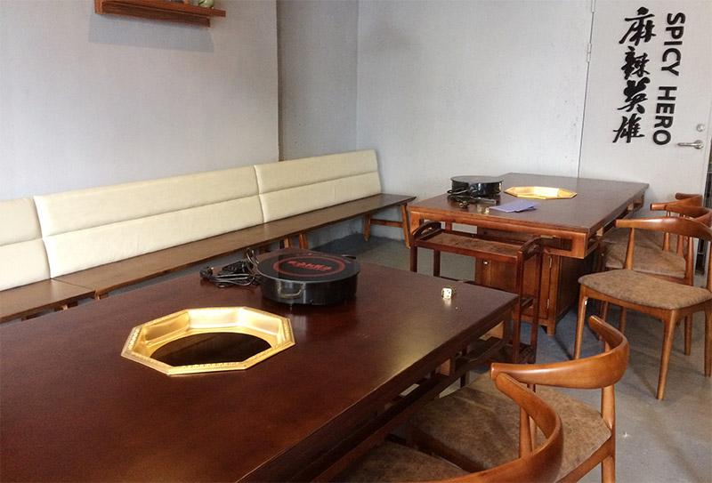 中式实木火锅桌 实木火锅桌椅组合-厂家定制